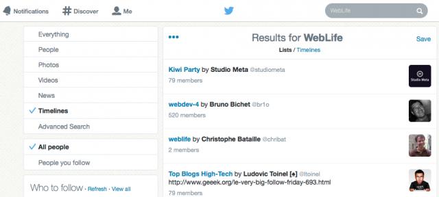 Twitter : Recherche dans les timelines & listes