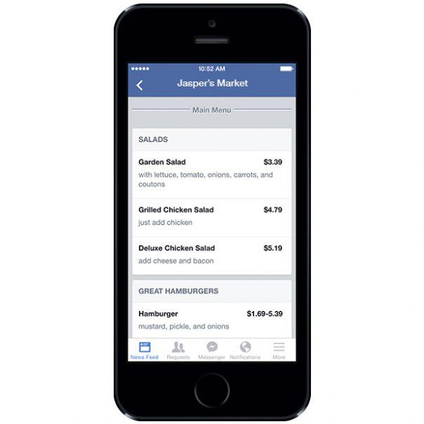 Facebook : Menu sur la Page restaurant