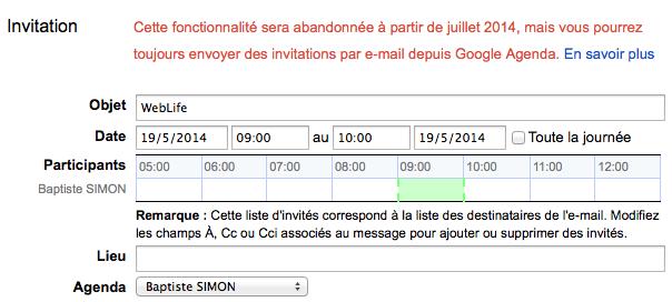 Gmail : Les invitations à Google Agenda disparaissent