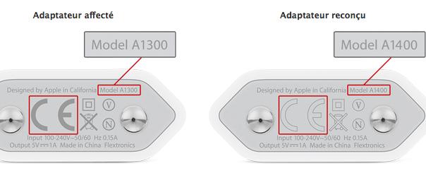 Apple : Certains adaptateurs secteur USB d'iPhone défectueux