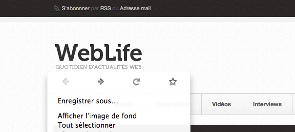 Firefox : Icônes de navigation dans le menu contextuel