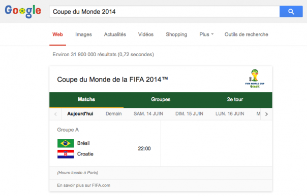 Google : Coupe du Monde de Foot 2014 - Programmation