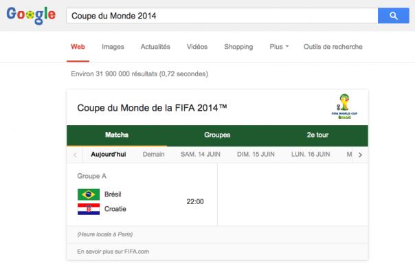 Google : Coupe du Monde de Foot 2014 - Programmation