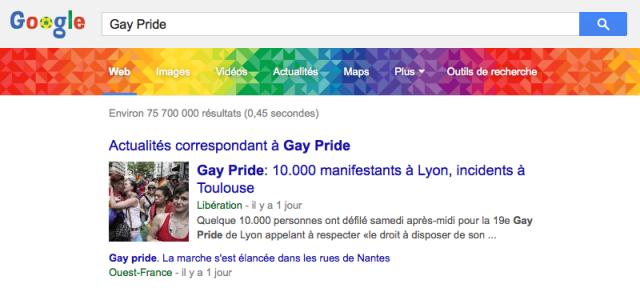 Google : Gay Pride dans les SERPS