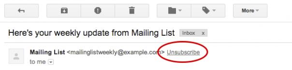 Gmail : Désabonnement
