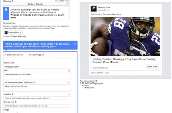Facebook : Power Editor - Prévisualisation des annonces