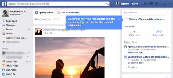 Facebook : Widget de stats de pages