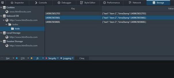 Firefox : Inspect storage
