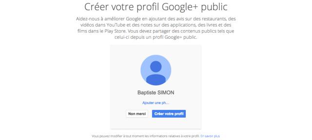 Google Plus : Compte facultatif