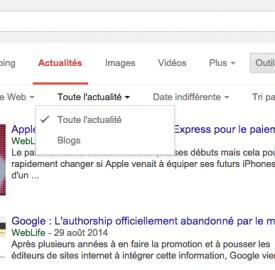 Google : La recherche de blogs migre dans les actualités