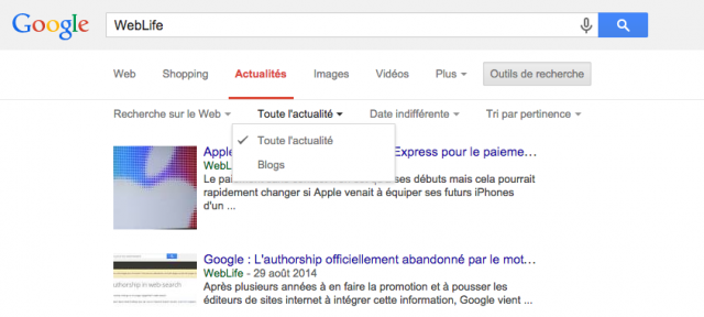 Google : Recherche de blogs