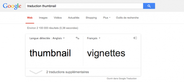 Google Traduction : OneBox cards