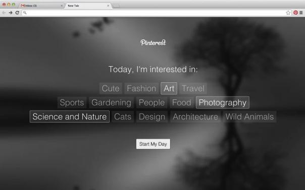 Pinterest Tab : Centres d'intérêt