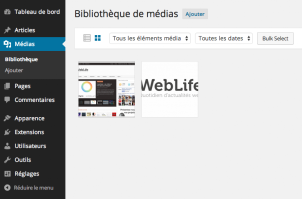 WordPress 4 : Bibliothèque de médias