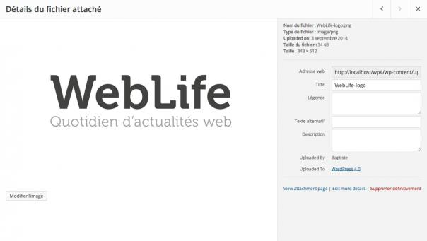 WordPress 4 : Détails de médias