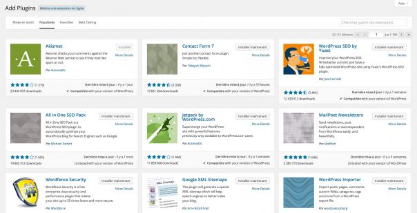 WordPress 4 : Gestionnaire d'extensions