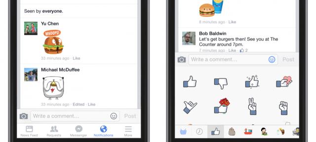 Facebook : Autocollants dans les commentaires