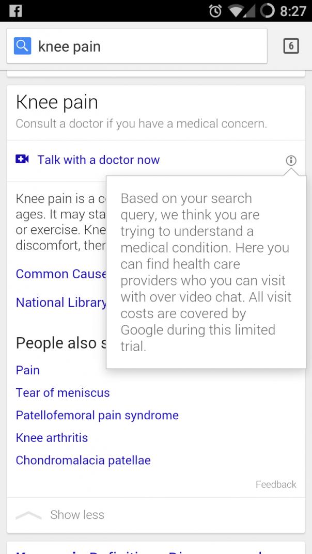 Google : Consultation avec un docteur