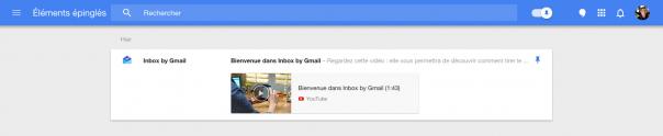 Google Inbox : Eléments épinglés