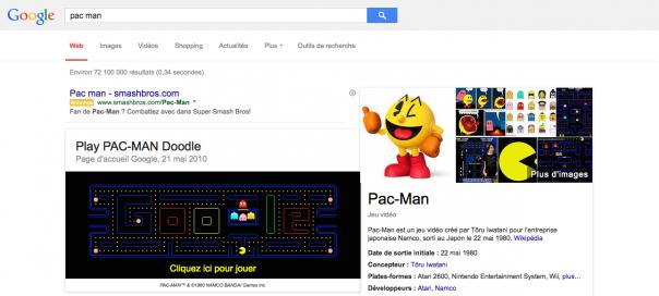 Google : Jouer à Pac-Man dans les SERPS