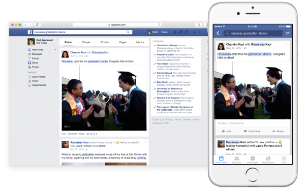 Facebook : Graph Search - Recherche de publications sur desktop