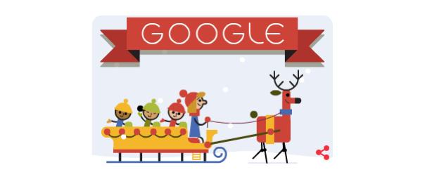 Google nous souhaite de Joyeuses Fêtes en doodle