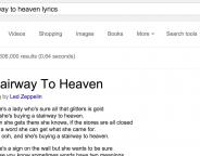 Google affiche des paroles de chansons dans les SERPS