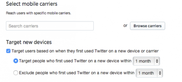 Twitter : Publicité mobile - Options de ciblage