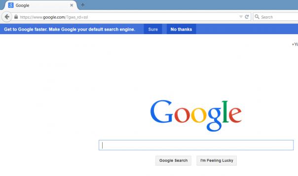 Firefox : Message sur la page d'accueil de Google
