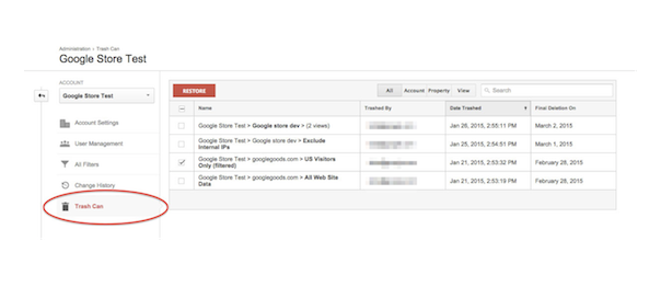 Google Analytics : La corbeille pour restaurer les éléments supprimés