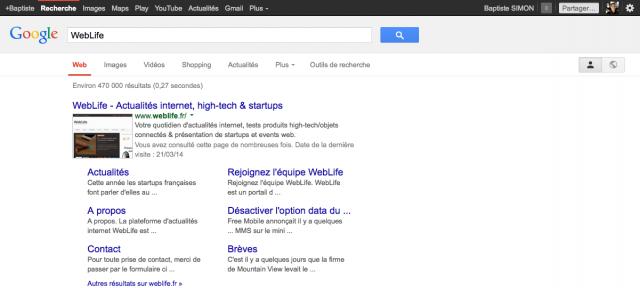 Google : Barre de navigation noire