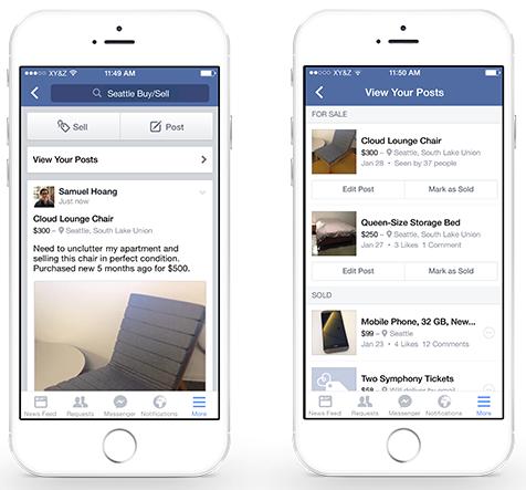 Facebook : Fonctionnalité vente dans un groupe