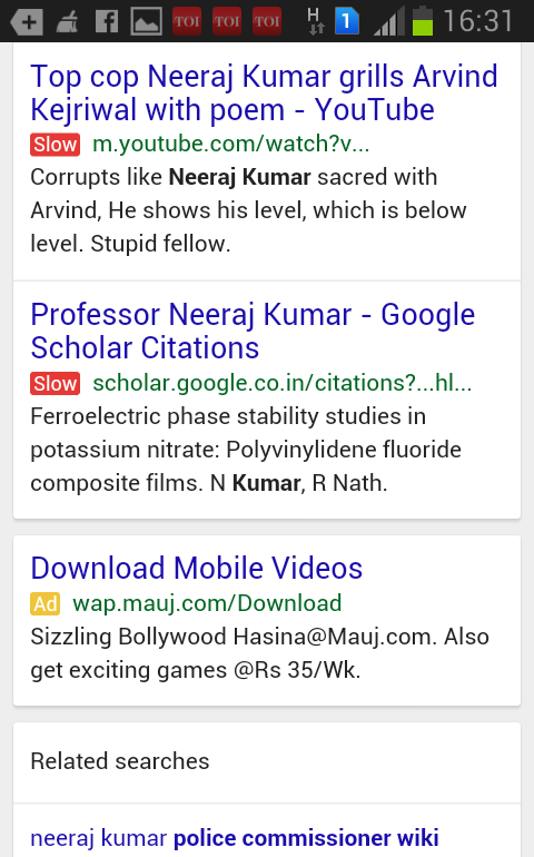 Google : Sites non-mobiles