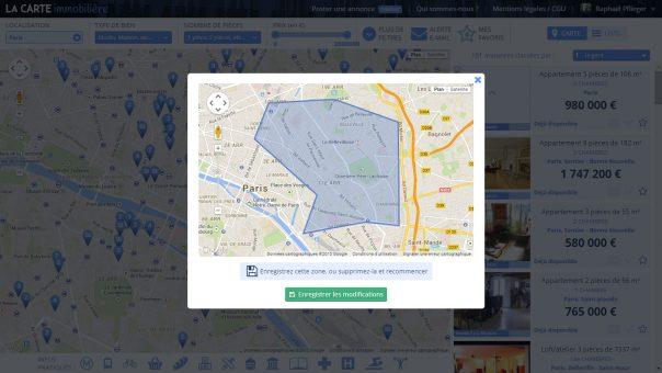 Carte Immobilière : Zone géographique