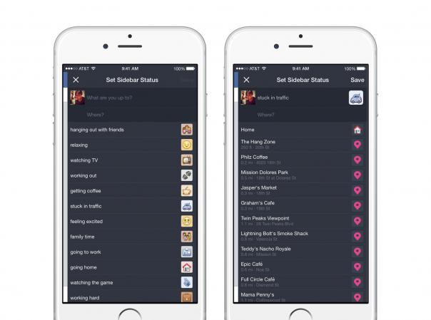 Facebook : Sidebar Status - Icônes