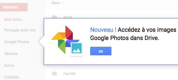 Google Photos : Disponible dans Google Drive