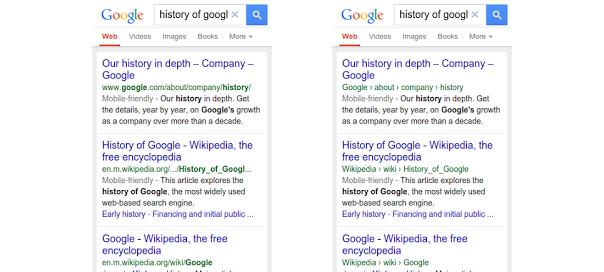 Google Mobile : Fil d'ariane