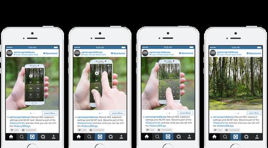 Instagram : Publicité carrousel - Samsung
