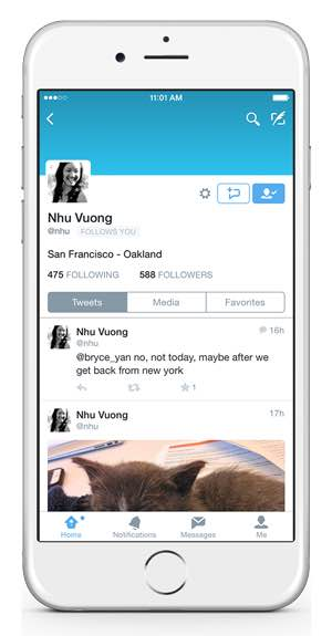 Twitter : Application mobile - Messages privés