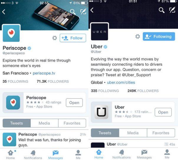 Twitter : Application mobile sur le profil utilisateur