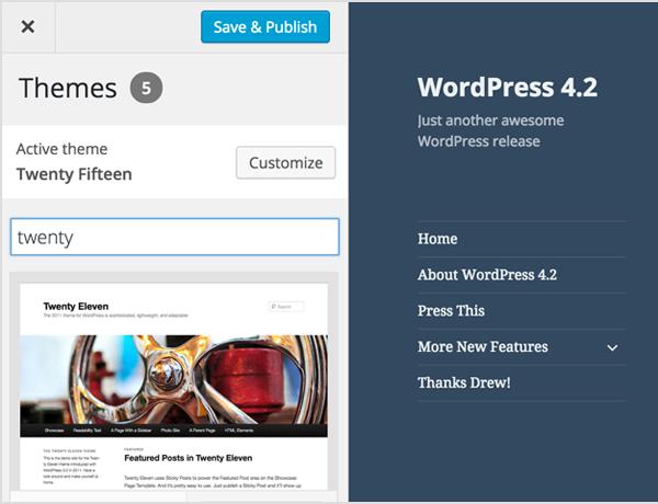 WordPress 4.2 : Thème - Activation via l'outil de personnalisation