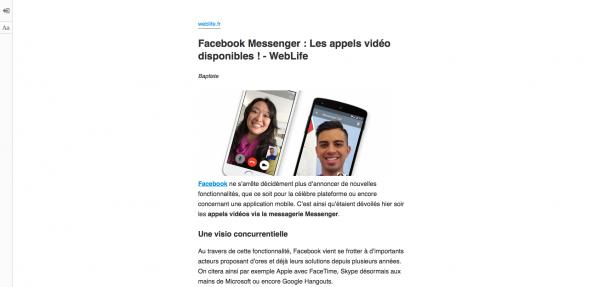 Firefox : Mode lecture - Après