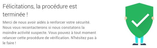 Google : Contrôle de sécurité