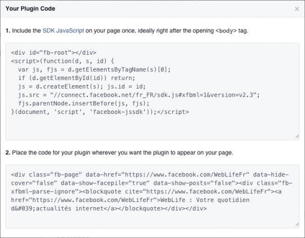 Facebook : Page Plugin - Code