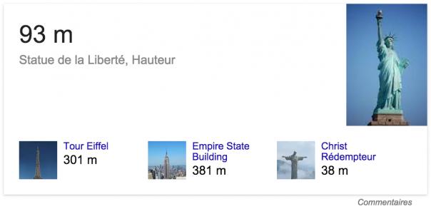 Google : Hauteur de la Statue de la Liberté