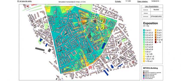 Ondes mobiles : Carte du niveau d'exposition à Strasbourg