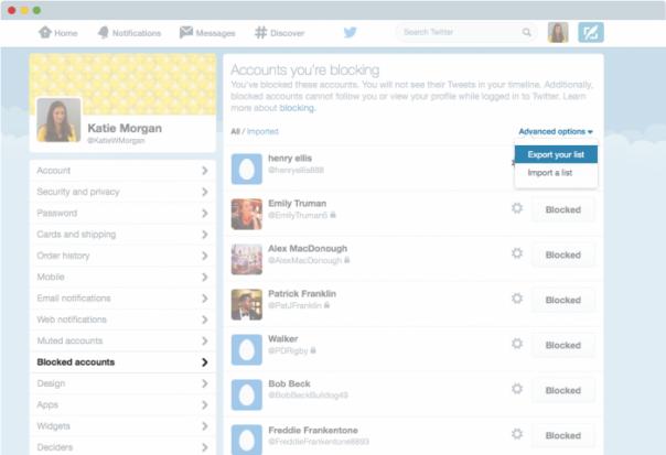 Twitter : Export de la liste des comptes bloqués