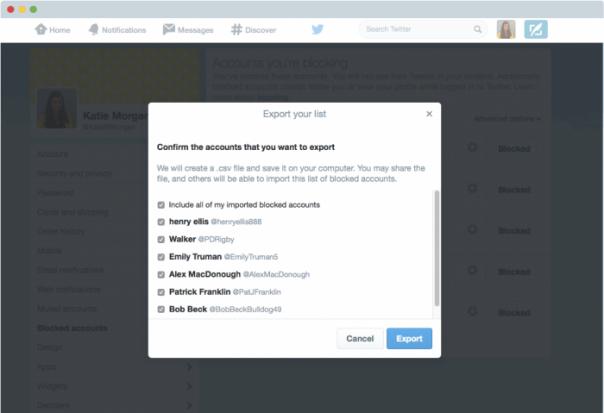 Twitter : Procédure d'export des comptes bloqués