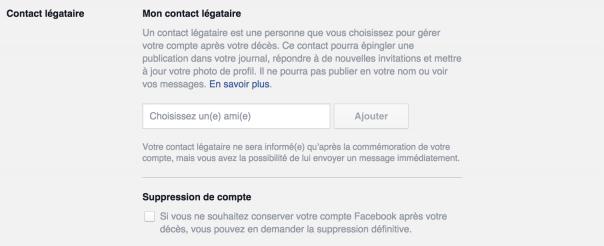 Contact légataire Facebook