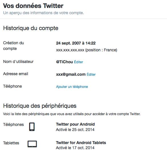 Twitter : Historique de compte et périphériques